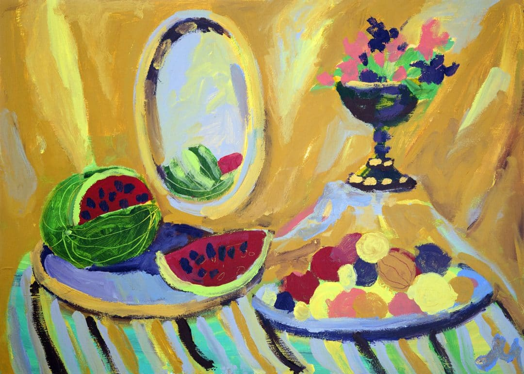 Still life, watermelon and flowers