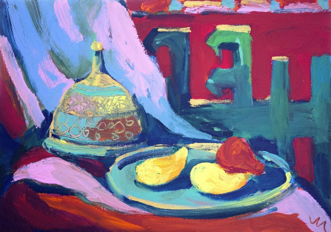 Still life, yellow and red pears